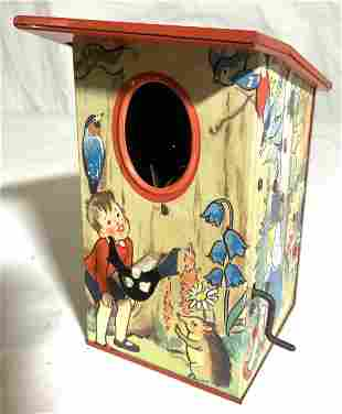 Vintage Metal Crank Birdhouse W Moving Bird Figure