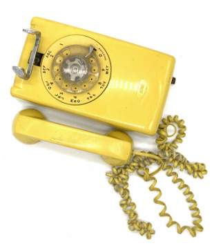 Vintage Yellow Wall Rotary Phone