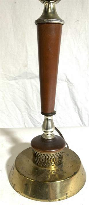 MCM Wooden & Brass Table Lamp