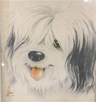 Framed Lithograph of Dog, Artwork