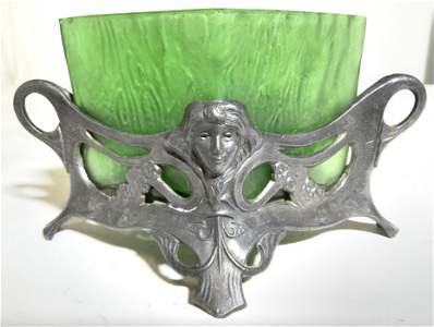 Art Glass Vessel W Footed Metal Holder