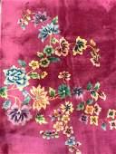 Vntg Chinese Art Deco Handmade Rm Size Wool Rug