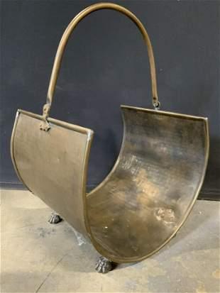 Vintage Brass Magazine Firewood Rack