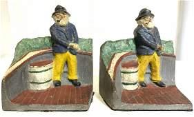Antique Hand Painted Iron Sailor Captain Bookends