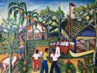 Signed Haitian Oil Painting Artwork