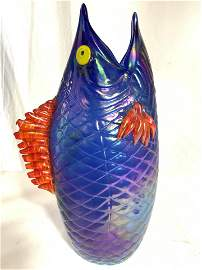 COOK Signed Art Glass Fish Vase