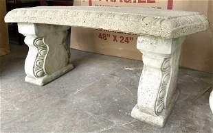 Outdoor Double Pedestal Cement Garden Bench