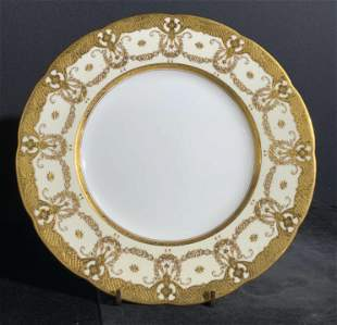 MINTON BURLEY & CO. Signed Gilt Porcelain Plate