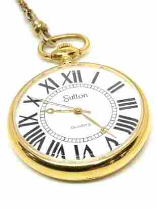 Vintage SUTTON Signed Pocket Watch W/ FOB