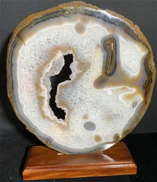 Substantial Agate Slice Stone Piece W/ Wood Stand