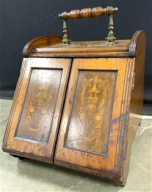 Vintage Carved Wooden Coal Scuttle W Handle