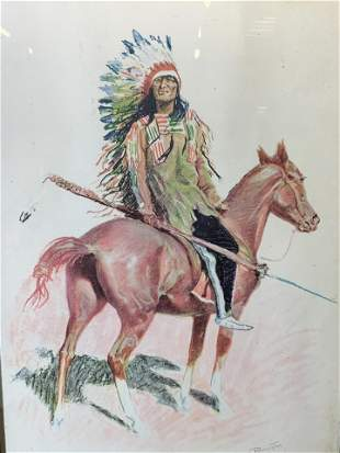 FREDERIC REMINGTON Vintage Print Signed in Plate