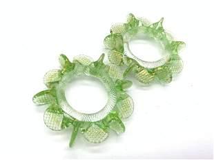 Set 8 Green Art Glass Napkin Rings
