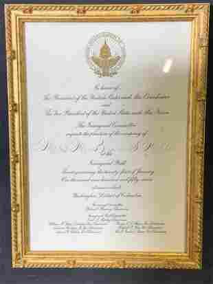 Framed Presidential Inauguration Invitation