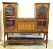 Antique Inlaid Wooden Marquetry Display Cabinet