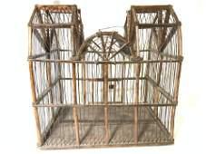 Antique Wire & Wood Birdcage w Asian Vessel