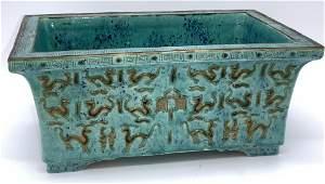 Antique Signed Asian Glazed Ceramic Aqua Planter