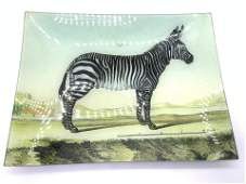 Signed Reverse Paint On Glass Tray, John Derian Co
