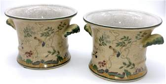 Pair Hand painted Vintage Cache Pot, Signed