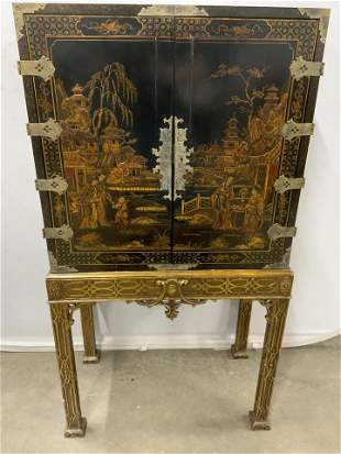 Antique Lacquered Wooden Asian Cabinet c mid-late 1800s