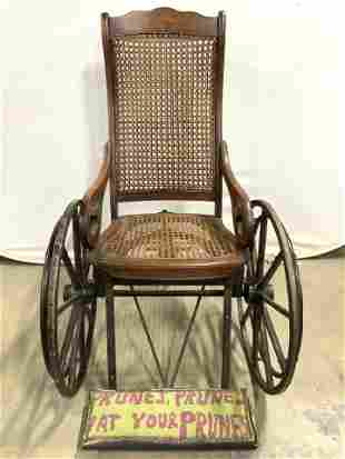 Antq Caned Wood Wheelchair W Upholstered Footrest