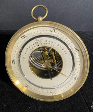 Vintage French Metal Holosteric Barometer