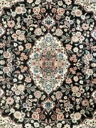 Handmade Asian Silk Fringed Rug