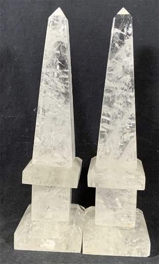 Pair Carved Rock Crystal Prism Obelisks