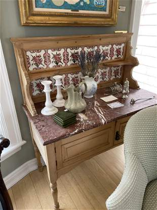 Antique English Washstand Marble and tile