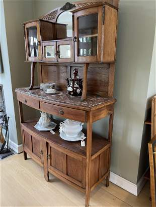 Antique Continental oak sideboard Marble top c1910
