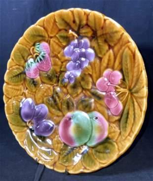 Vntg SARREGUEMINES French Ceramic Majolica Platter