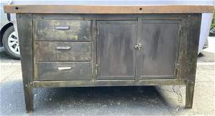 Antique French Heavy Industrial Metal Console