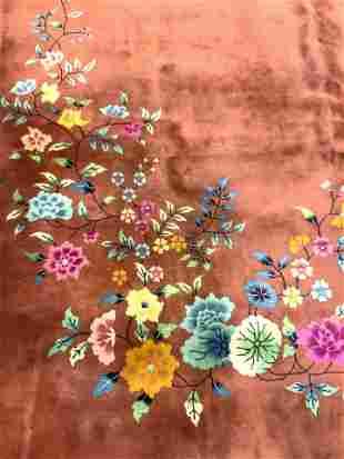 Vntg Chinese Art Deco Handmade Wool Pile Rug
