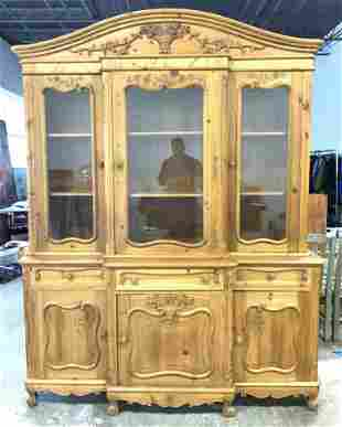 Antique Country French Carved Wooden Hutch