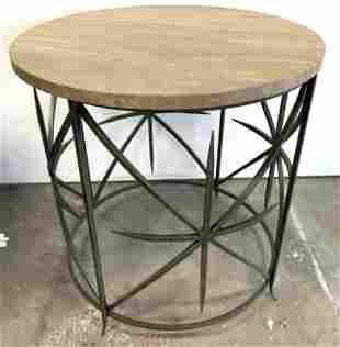 Limestone Top Iron Base Accent Table