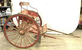 Antique Wooden & Metal Red Horse Carriage