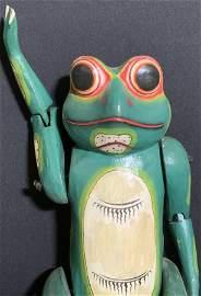 Vintage Handmade Articulated Wooden Folk Art Frog