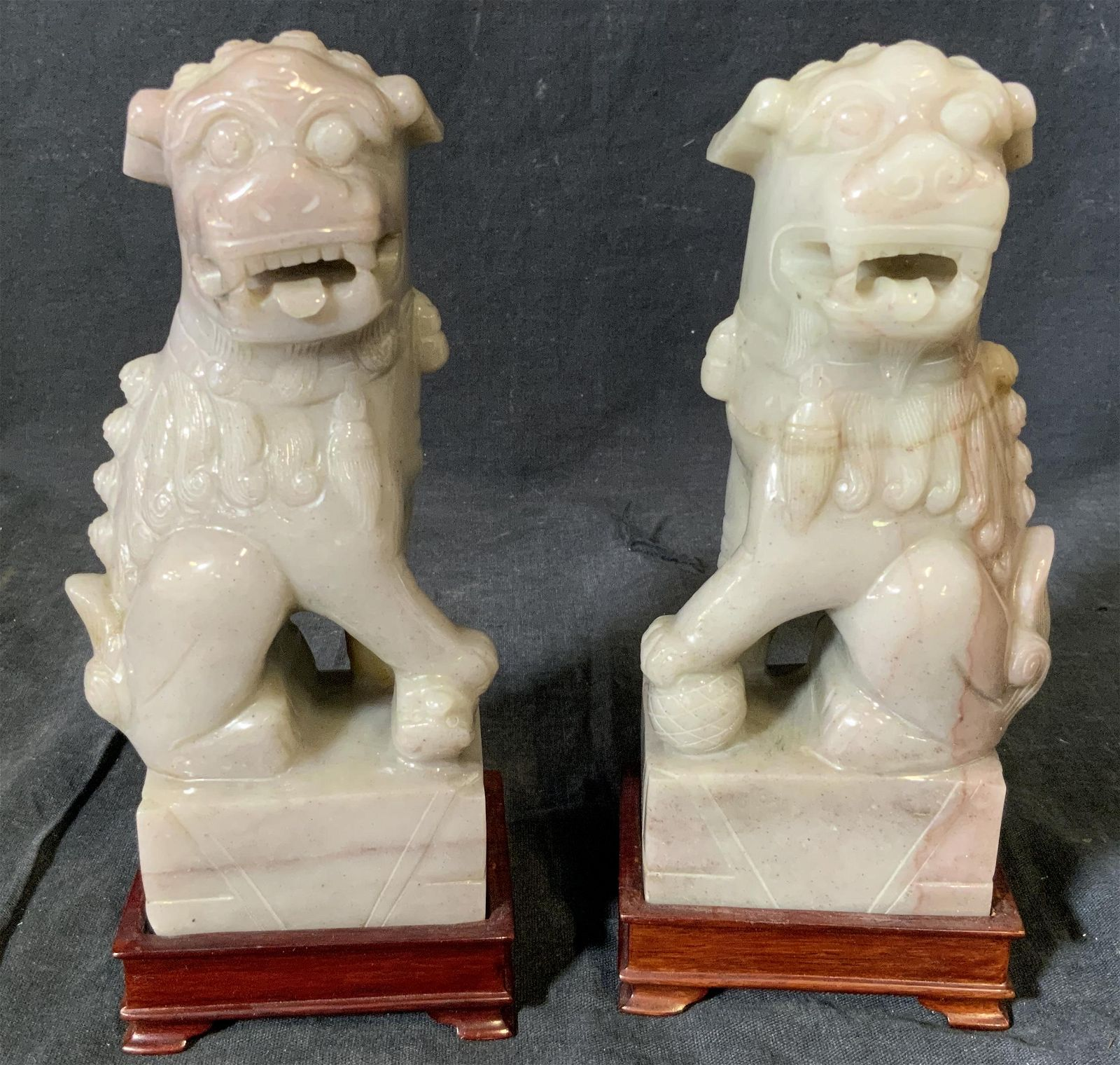 Pair Carved Natural Stone Foo Dog Figurals & Bases