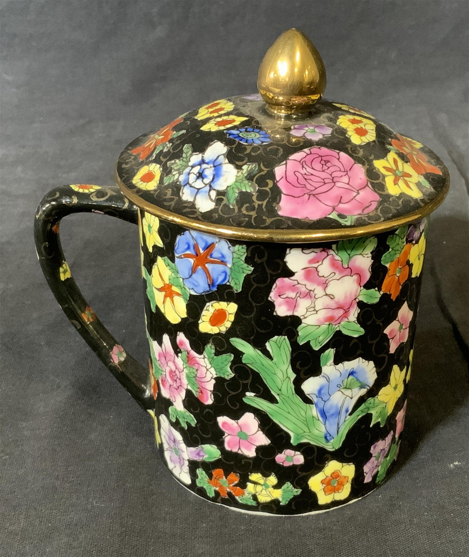 Chinese Gilt Portuguese Lidded Handled Cup