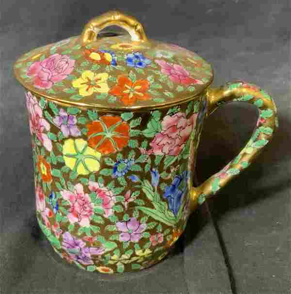 Chinese Gilt Porcelain Lidded Handled Cup