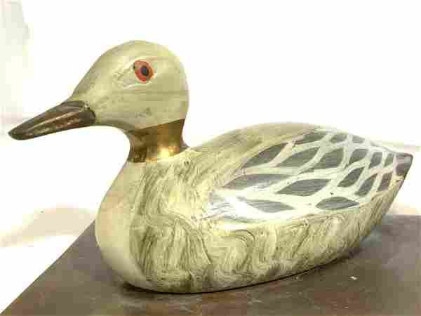 Pair Vintage Painted Brass Duck Bookends
