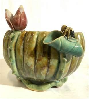 Signed Asian Glazed Ceramic Bowl