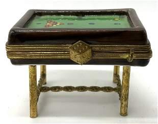 LIMOGES FRANCE Porcelain Pool Table Pill Box