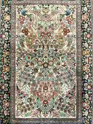 Handmade Chinese Silk Oriental Fringed Rug