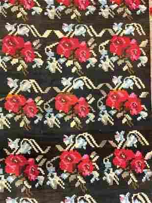 Vintage Handmade Flatweave Fringed Wool Rug