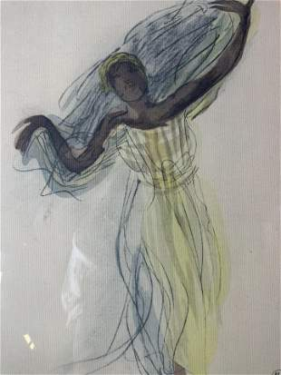 AUGUSTE RODIN Cambodian Dancer Offset Lithograph
