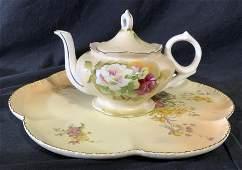 Lot 2 ROYAL WORCESTER Platter & LEFTON Teapot
