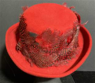WHITTALL & SHON Vintage Red Fabric Feathered Hat