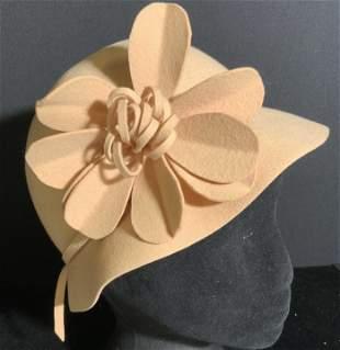 Vintage ADOLFO II Wool Felt Floral Accent Hat