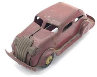Vintage Painted Metal Red Toy Car, Collectibles